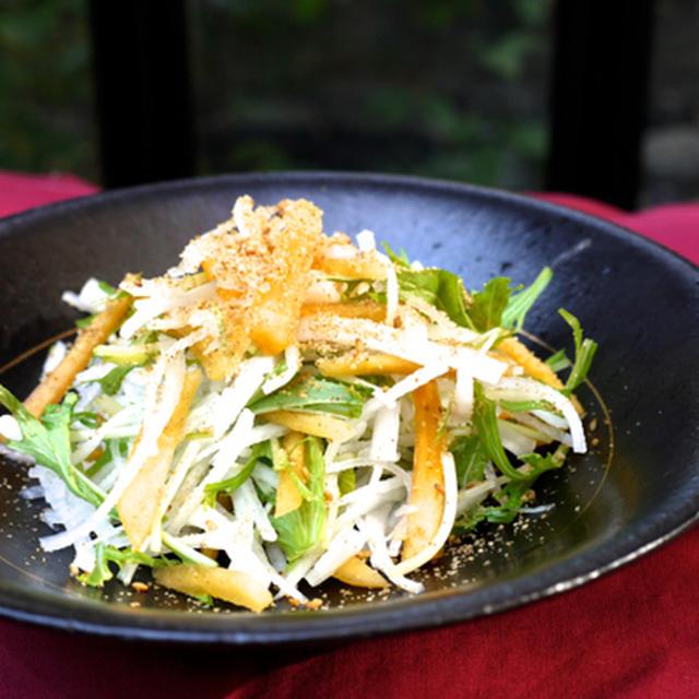 柿と大根、水菜のゴマあえサラダ