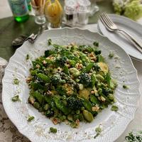 グリーングリーンな野菜とスペルト小麦のサラダ