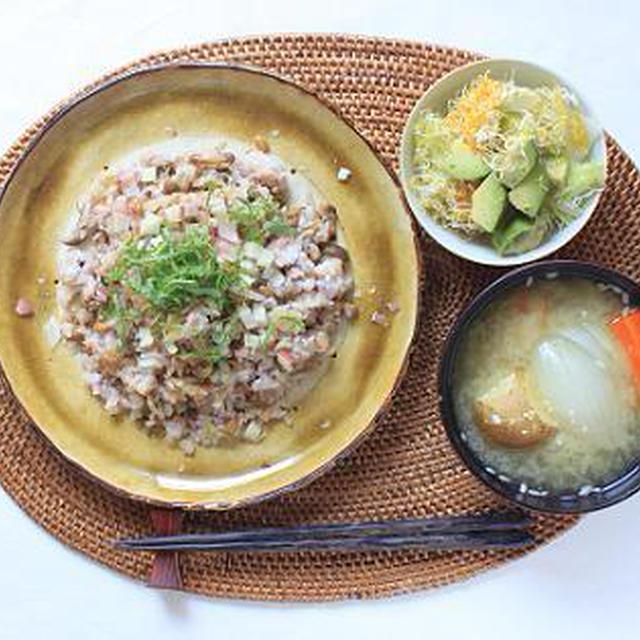 柚子胡椒と塩麹で大人の納豆炒飯♪ そして、おからと玉ねぎのハンバーグのこと。