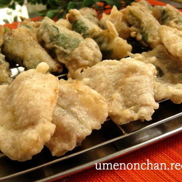 赤梅酢で作るコツのいらない天ぷら衣。°鰯の梅しそ揚げと鯵の天ぷら。°