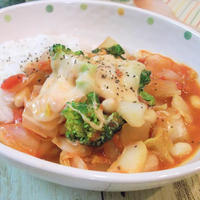 オレガノがポイント♪白菜と大豆のトマト煮