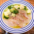 酸味と食感が美味しい「鯛のカルパッチョ」&「時間があれば寄ってくださいね、IHクッキングヒーターイベント」