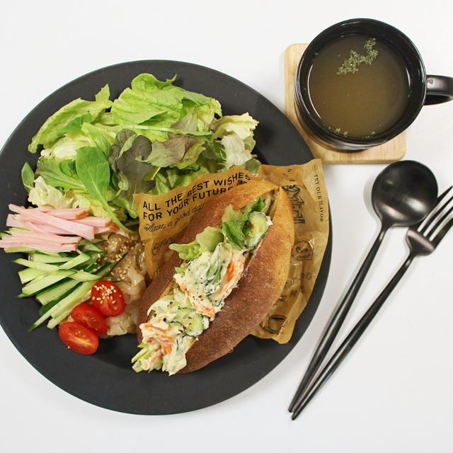 5月13日ꕤふすまパンマヨサラダサンド⭐︎炒り豆腐と回鍋肉❁.*・゚