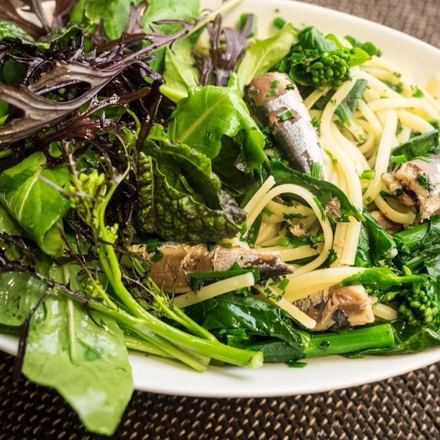 菜の花とオイルサーディンのサラダパスタ