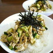 【掲載】くらしのアンテナ(レシピブログ)★鶏ささみのアボカドときゅうりの和風サラダ丼ぶり♪