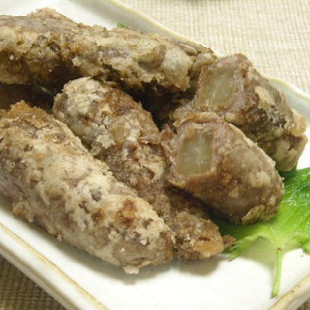 ジューシー大根煮の牛肉巻き揚げ と 椎茸旨みたっぷりほうれん草のお浸し
