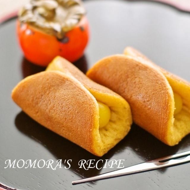 ホットケーキミックスHMで簡単♡秋のお菓子♪半月どら焼き さつまいもカスタードクリーム&白ニャンコ