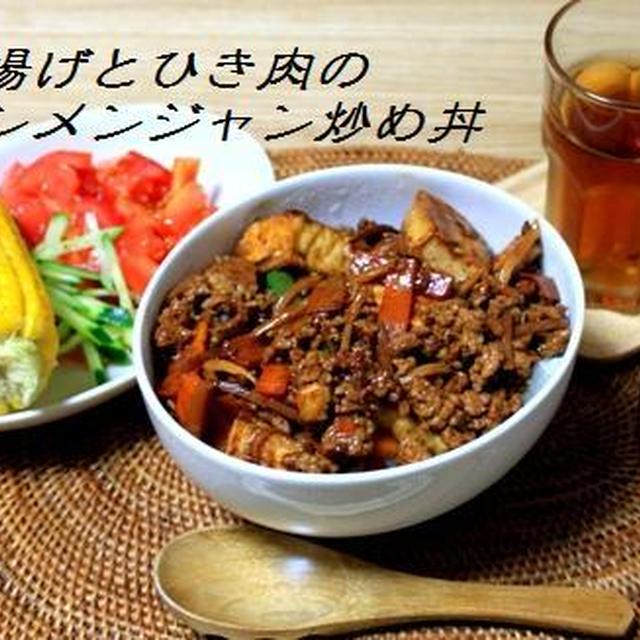 厚揚げとひき肉のテンメンジャン炒め丼
