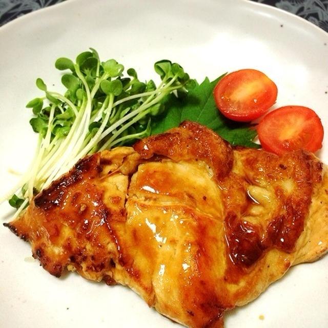 ヘルシー料理!鶏胸肉で照り焼きチキン!(タレ少なめ)