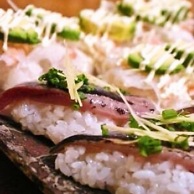 サンマのお寿司と白梅酢〆
