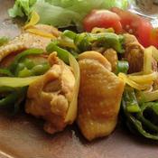 鶏肉とピーマンのカレー味炒め