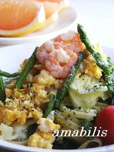春野菜と小海老のパスタ