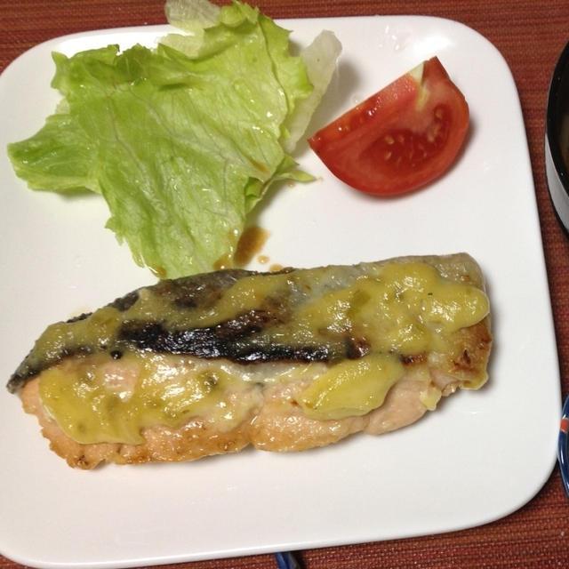 いつぞやの鮭のきざみわさびマヨ焼きの朝御飯
