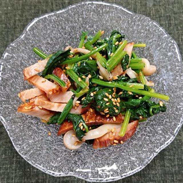 焼豚とほうれん草とブナシメジの中華和え、タコの刺身