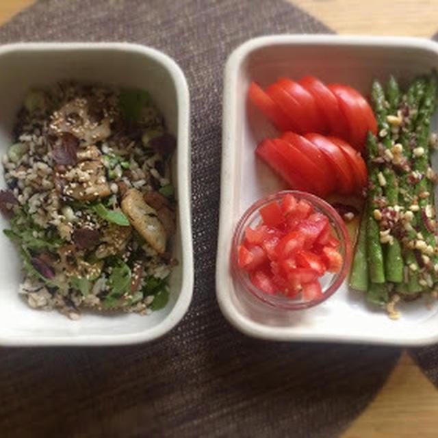 蓮根とそら豆の玄米サラダと野菜の小鉢