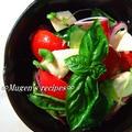 トマトとモッツァレラのカプレーゼサラダ~♪    香り豊かな赤ワインビネガードレッシングだよ☆彡