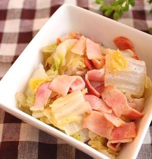 レンジで簡単!白菜とベーコンの塩バター蒸し