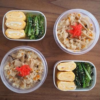炊き込みご飯とだし巻き弁当、中華飯