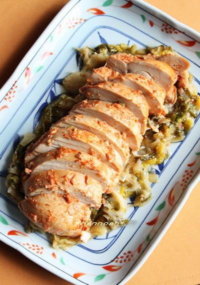 醤油麹漬け鶏肉と葱のオーブン焼き