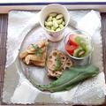 朝ごはん!ゴマ醤油バターの根菜オープンサンド&トマトとキウイのミントサラダ by 小西尚子さん