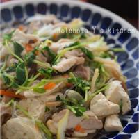 木綿豆腐と豆苗の塩チャプチェ
