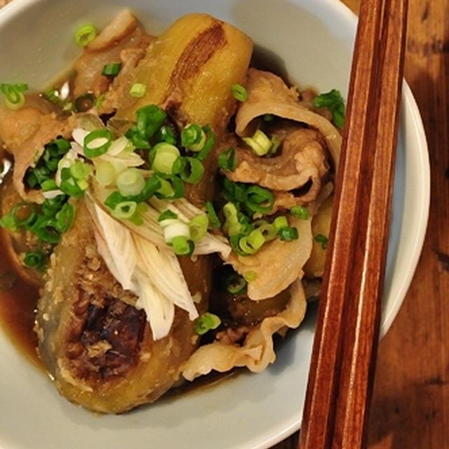 生姜がたっぷり☆やわらか茄子と豚肉の煮物