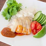 海南チキンライスと料理本の宣伝