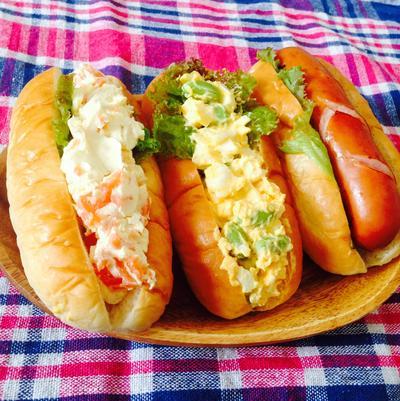 めちゃ簡単!はりきりサンドイッチ!サーモンクリチ・エッグ枝豆・ホットドーッグ