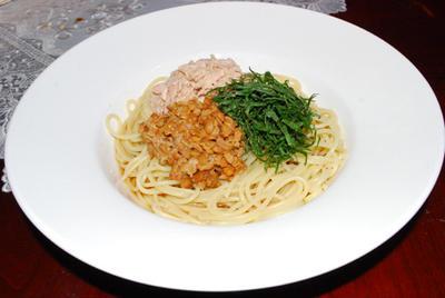 納豆とツナのスパゲティ