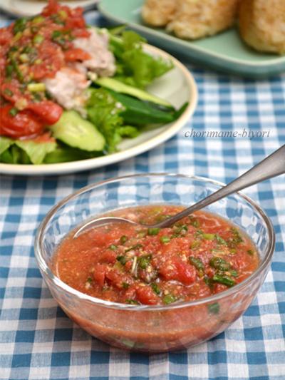 つぶしトマトねぎだれ・蒸し豚しゃぶサラダ。の晩ご飯。 明日放送です♪