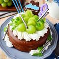 9歳のお誕生日ケーキ。ガトーショコラにチョコたっぷり♪♪