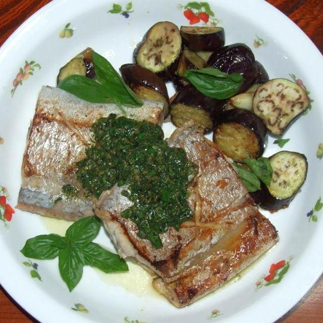 太刀魚バジルソース&豚と小松菜のマヨソース