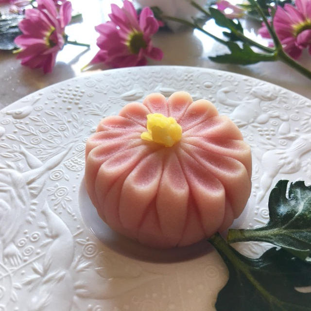 重陽の節句の和菓子。薄桃菊