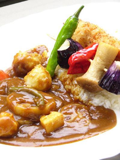 カレーライス  串!チキンカツと素揚げ野菜