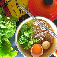 菜花とたっぷり大根おろしのキムチチゲ鍋蕎麦  #金魚の肴  #豊菜JIKAN