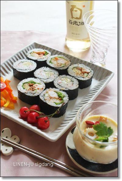 キムパブ (김밥) と韓国風冷製茶碗蒸し