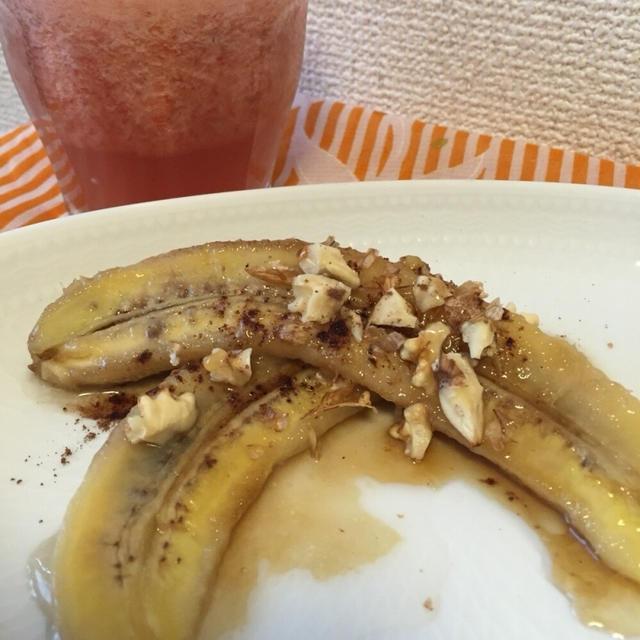 今朝の朝ごはん(≧∇≦)ドールのバナナでココナッツオイル焼きバナナ