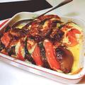 簡単。夏野菜とチーズのオーブン焼き トマト、ナス、新ニンニク
