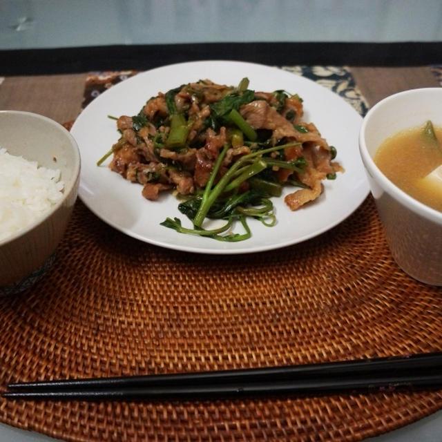 豚と空芯菜のテリヤキ!&スナップエンドウと豆腐の味噌汁!
