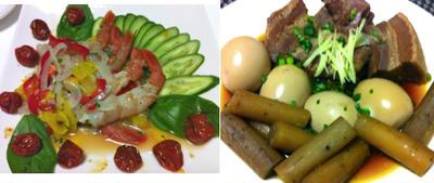 赤海老のカルパッチョ、豚の角煮、ソーセージ巻き巻き、はんぺんの茶碗蒸し