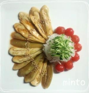レンチンで超簡単!蒸し茄子の和風カルパッチョ