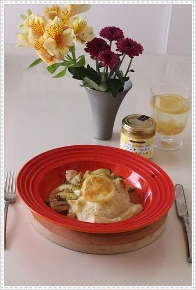 「ジンジャーレモンスライスジャム」で♪鶏肉とオーガニックキャベツのジンジャーレモン煮*パイのせ☆