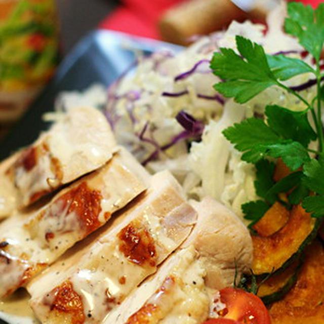 【GABAN黒胡椒シーザードレッシング】で食べる、洋風蒸し鶏