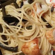 きのうのおつまみ  わらびのスパゲティペペロンチーノ