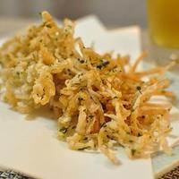 昨日のつまみ:ペッパーミックスと青海苔で食べる揚げえのき