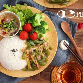 青椒肉絲とサバの酸辣湯の中華ワンプレート♪