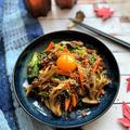 ごま油香る舞茸と野菜たっぷり炒めビビンバ風