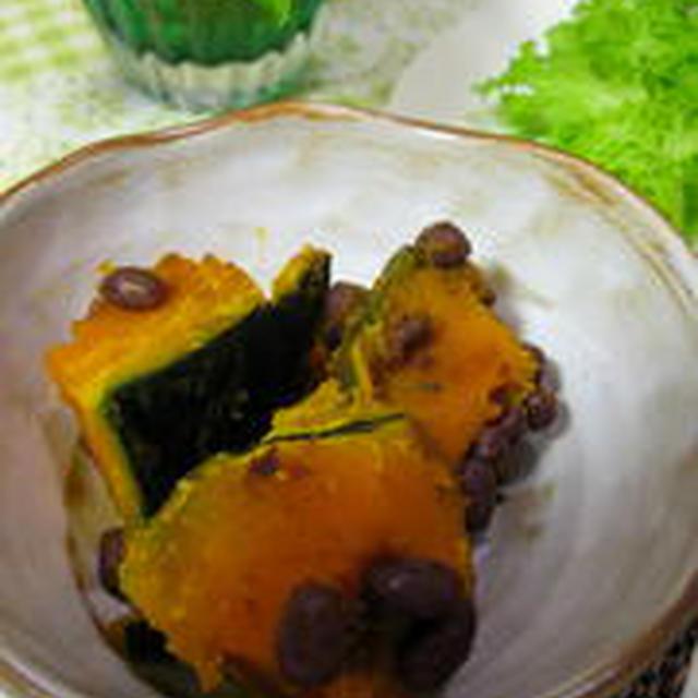 ほくほくかぼちゃの煮物に小豆をトッピング