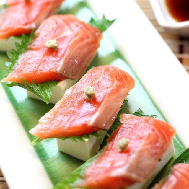 サーモンと豆腐の寿司