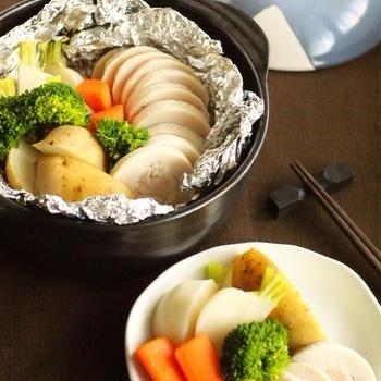 土鍋で鳥ハムと温野菜のホットサラダ